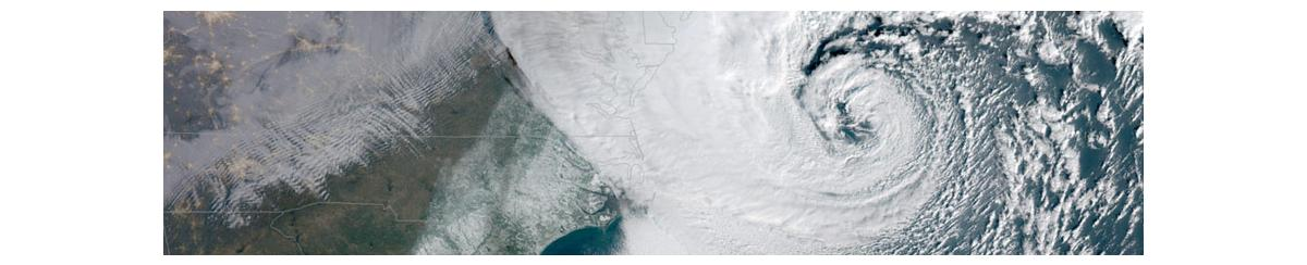 Satellite image of a strong storm over the east coast of the United States