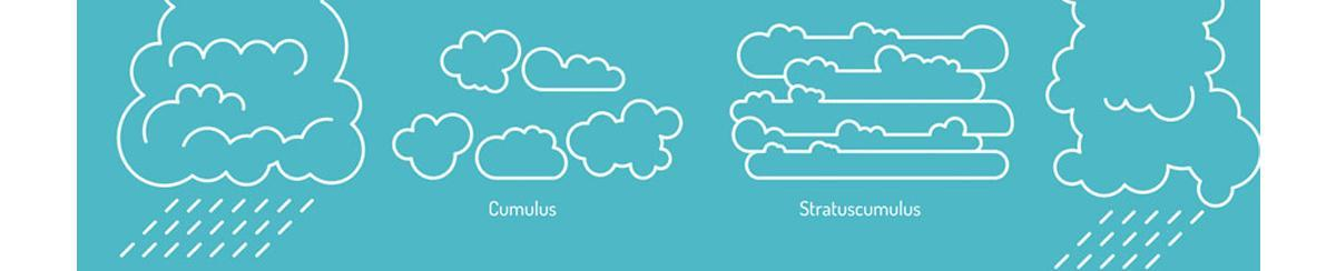 White illustration of cumulus and stratuscumulus clouds on a blue-green background