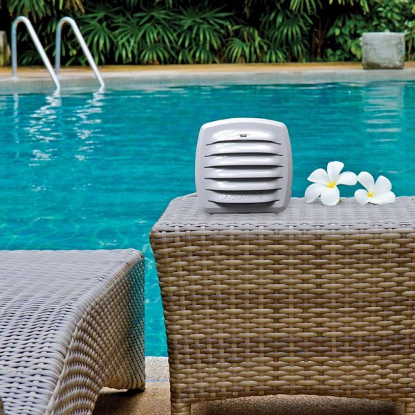 Outdoor Monitor with Liquid & Soil Temperature Sensor next to a pool - AcuRite Weather Monitoring Devices