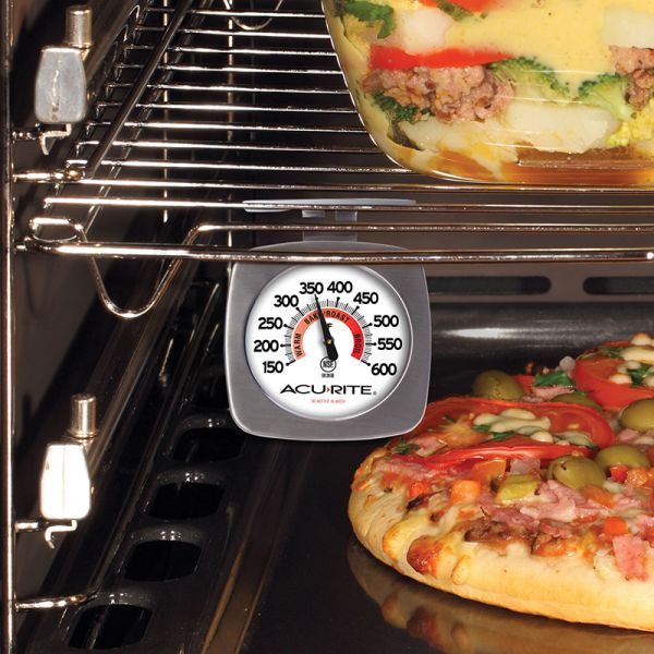 Brushed Stainless Steel Oven Thermometer being used while cooking - AcuRite Kitchen Gadgets
