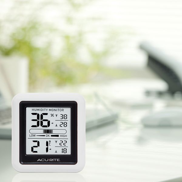 Indoor Temperature and Humidity Monitor on a desk - AcuRite Home Monitoring Devices