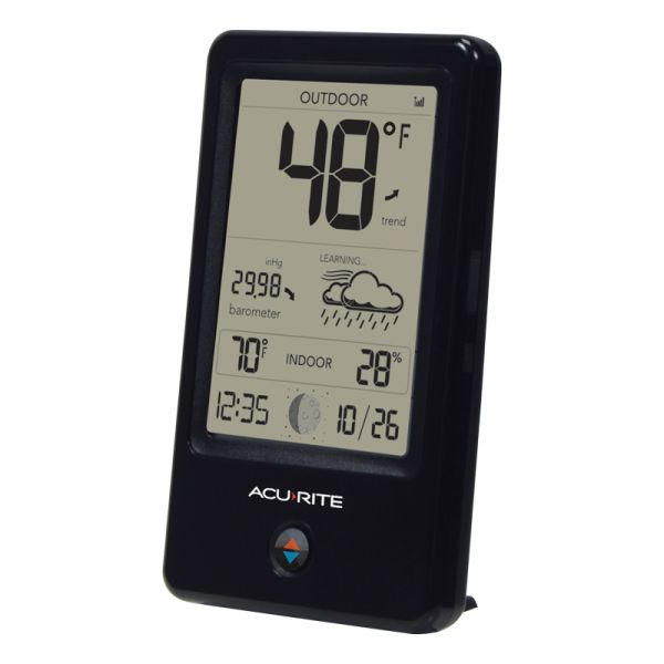 Angled view of the Digital Weather Station with Forecast display - AcuRite Weather Monitoring Devices