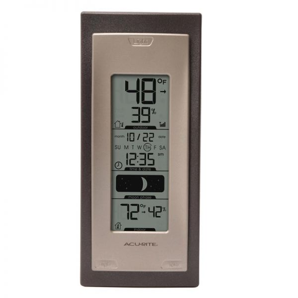 Front View of Digital Thermometer with Outdoor Temperature and Humidity – AcuRite Weather Monitoring Technology