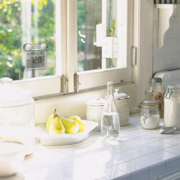 Digital Window Thermometer on a kitchen window - AcuRite Thermometers