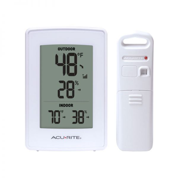 White Indoor Outdoor Digital Thermometer and Humidity Gauge - AcuRite Weather Monitoring Devices