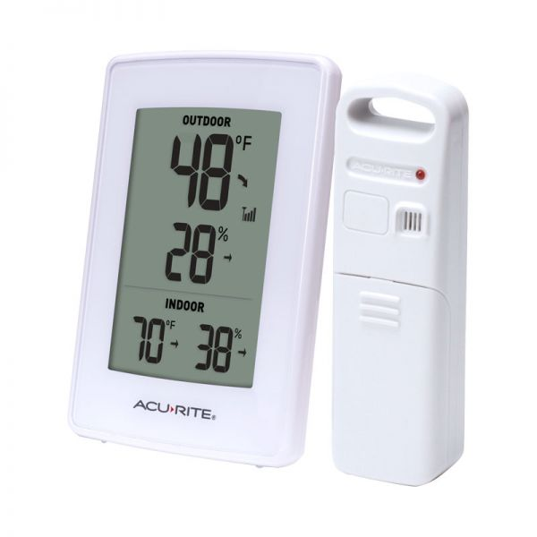 Angled view of the White Indoor Outdoor Digital Thermometer and Humidity Gauge - AcuRite Weather Monitoring Devices