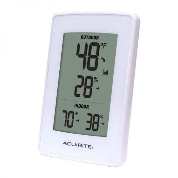 Angled view of the White Indoor Outdoor Digital Thermometer and Humidity Gauge display - AcuRite Weather Monitoring Devices