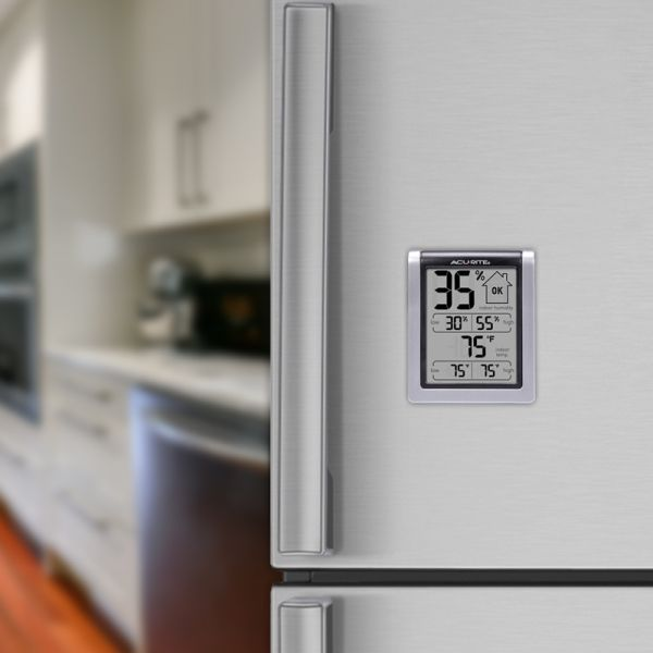 Indoor Temperature and Humidity Monitor on a refrigerator door - AcuRite  Home Monitoring Devices