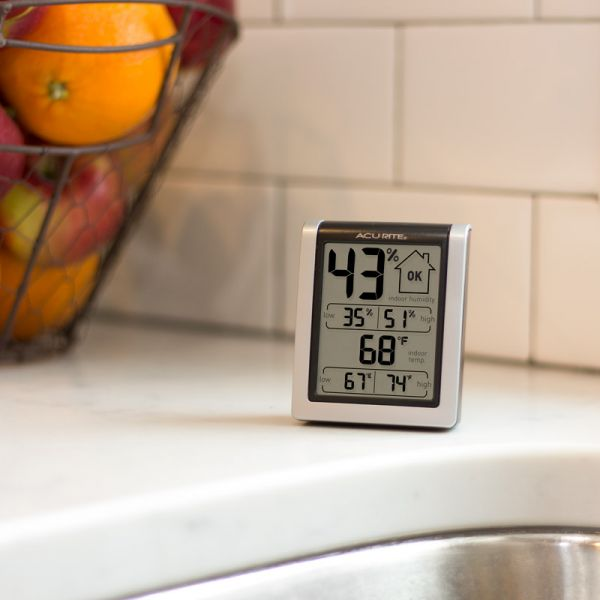 Indoor Temperature and Humidity Monitor on a kitchen counter - AcuRite  Home Monitoring Devices