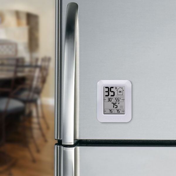 Digital Indoor Temperature and Humidity Monitor on a refrigerator - AcuRite Home Monitoring Devices