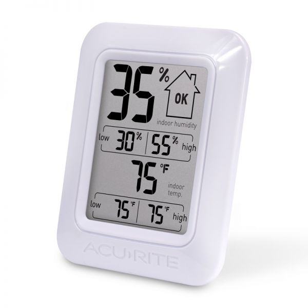 Angled view of the Digital Indoor Temperature and Humidity Monitor - AcuRite Home Monitoring Devices