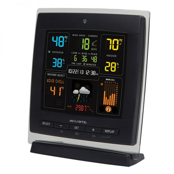 Angled view of the Pro Color Weather Station with Wind Speed Display - AcuRite Weather Monitoring Devices
