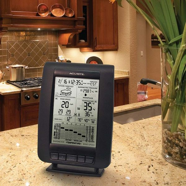 Display for 3-in-1 Weather Sensor on a kitchen counter - AcuRite Weather Monitoring Devices