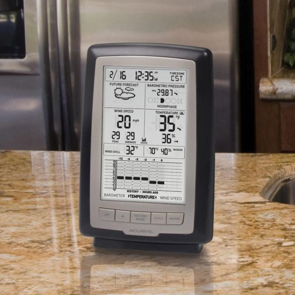 Home Weather Station with Wind Speed Display on a counter - AcuRite Weather Monitoring Devices