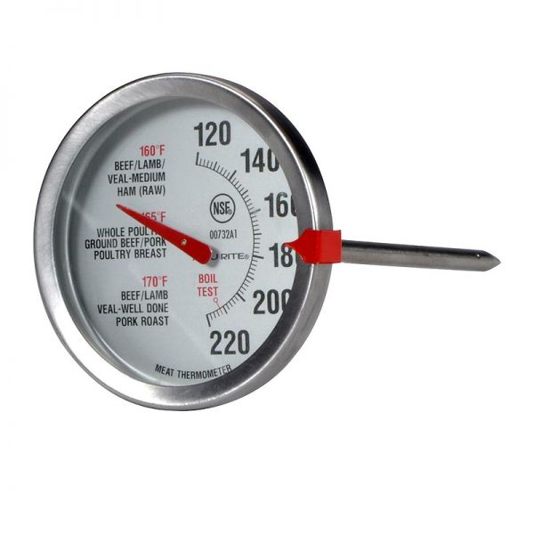 Angled view of the Oven-Safe Analog Meat Thermometer - Stainless Steel - AcuRite Kitchen Gadgets