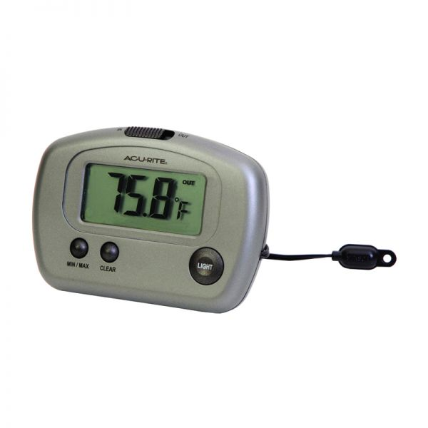 Angled view of the Digital Thermometer with 10-foot Temperature Sensor Probe - AcuRite Weather Monitoring Devices