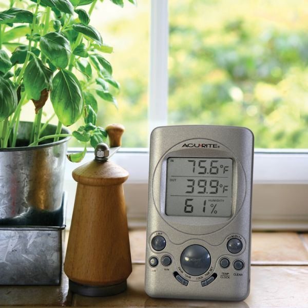 Digital Thermometer on a desk - AcuRite Weather Monitoring Devices