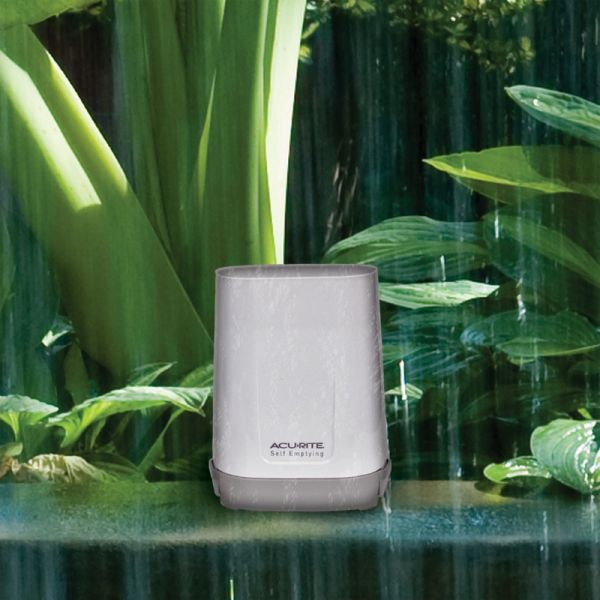 Rain Gauge with Indoor/Outdoor Temperature Sitting Outside in the Rain – AcuRite Weather Devices