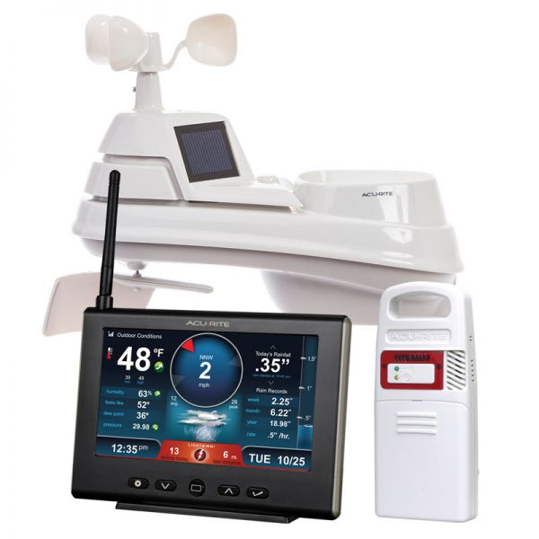 Close-Up of Pro+ 5-in-1 Weather Station with HD Display and Lightning Detector – AcuRite Home Monitoring Technology