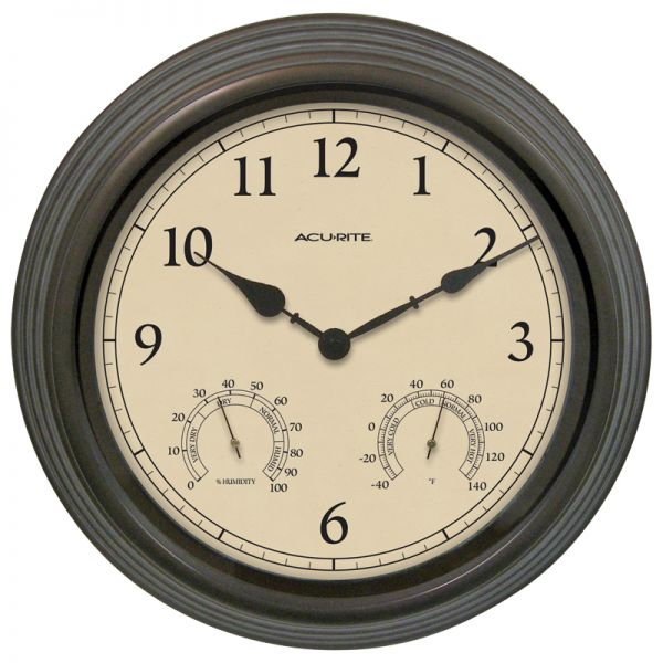 15-inch Weathered Bronze Outdoor Clock with Thermometer and Humidity - AcuRite Clocks