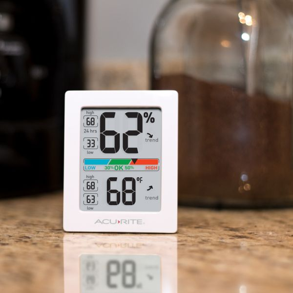 AcuRite Pro Accuracy Indoor Temperature and Humidity Monitor on a kitchen counter - AcuRite Home Monitoring Devices