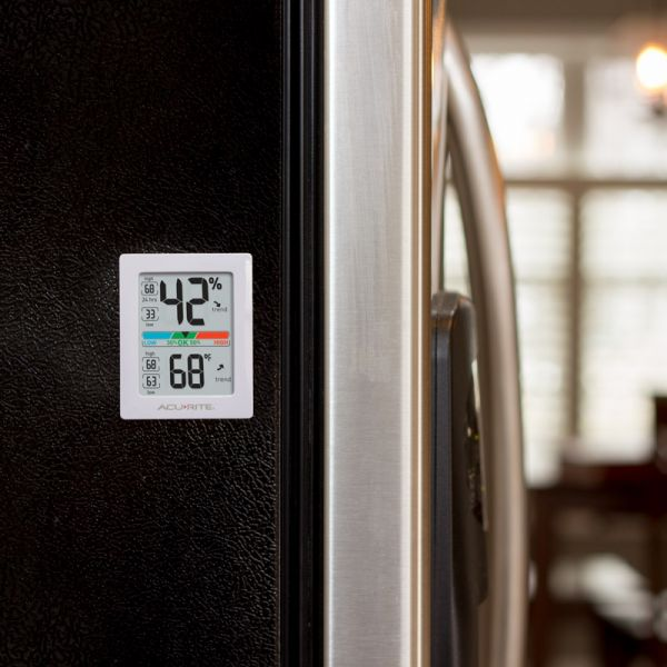 AcuRite Pro Accuracy Indoor Temperature and Humidity Monitor on a fridge - AcuRite Home Monitoring Devices