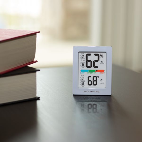 AcuRite Pro Accuracy Indoor Temperature and Humidity Monitor sitting on a coffee table - AcuRite Home Monitoring Devices