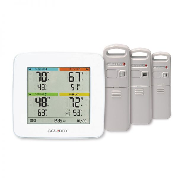 Temperature and Humidity Multi-Sensor Station with 3 Indoor Outdoor Sensors - AcuRite Weather Monitoring Devices