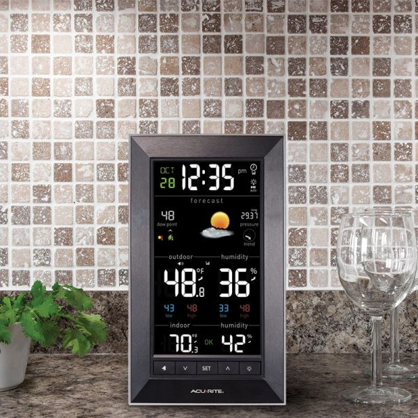 Weather Station Display sitting on a counter - AcuRite Weather Monitoring Devices