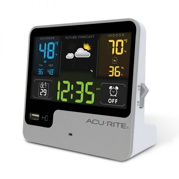 Angled view of the Alarm Clock with Weather Forecast - AcuRite Clocks