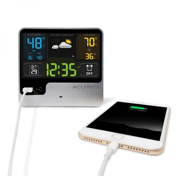 Alarm Clock with Weather Forecast charging a phone on the USB charger - AcuRite Clocks
