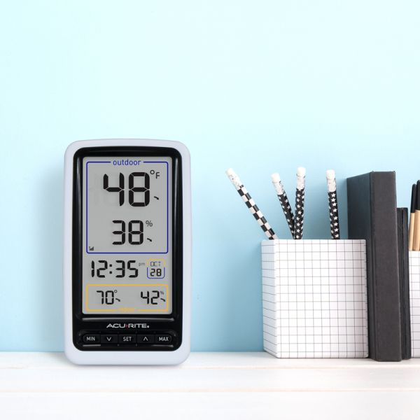 Wireless Digital Thermometer on a desk - AcuRite Weather Monitoring Devices