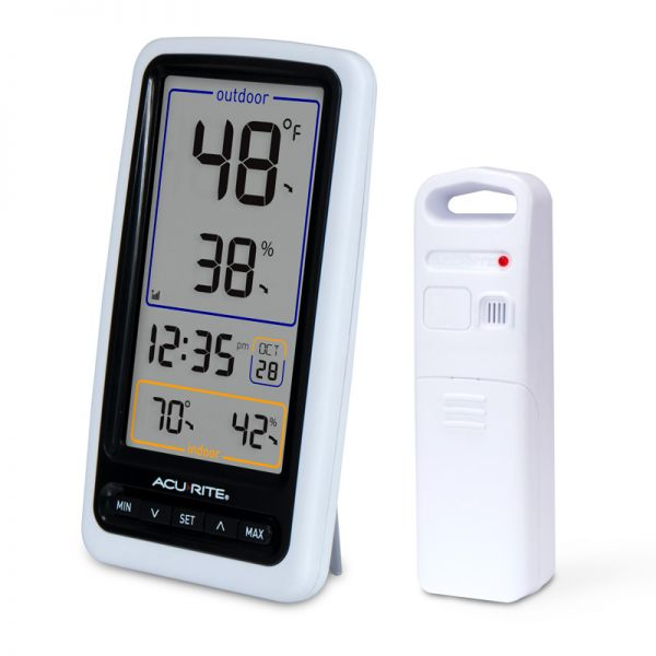 Angled view of the Wireless Digital Thermometer with Outdoor Temperature and Humidity - AcuRite Weather Monitoring Devices