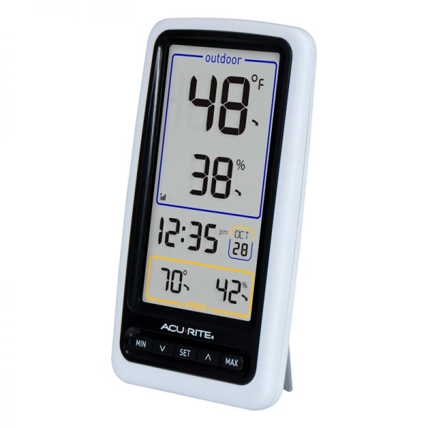 Angled view of the Wireless Digital Thermometer Display - AcuRite Weather Monitoring Devices