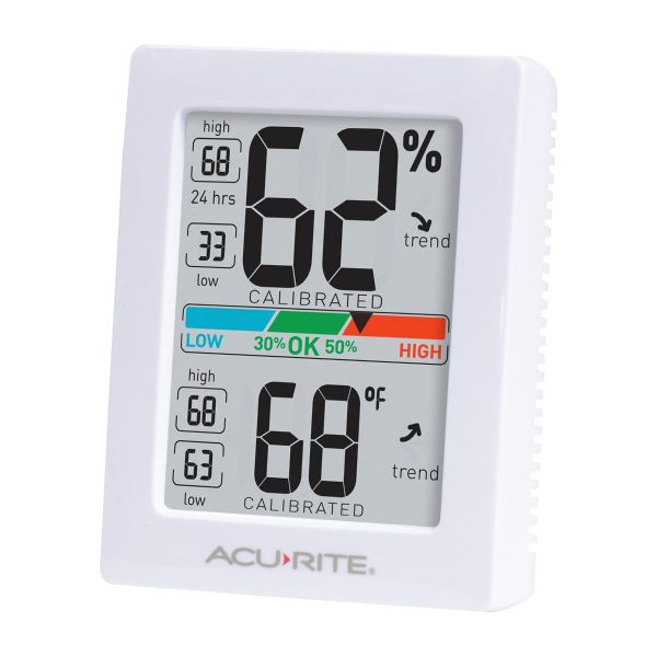 Angled view of the AcuRite Pro Accuracy Indoor Temperature and Humidity Monitor - AcuRite Home Monitoring Devices