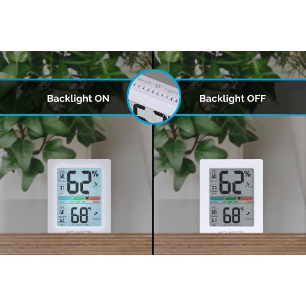 AcuRite Pro Accuracy Indoor Temperature and Humidity Monitor sitting on a mantle display both the backlight on and off - AcuRite Home Monitoring Devices