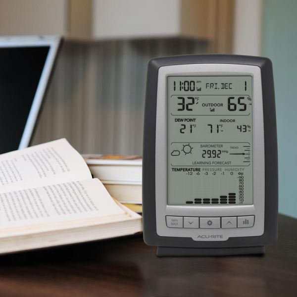 Weather Station with Trends and Forecasting Display sitting on a desk - AcuRite Weather Monitoring Devices