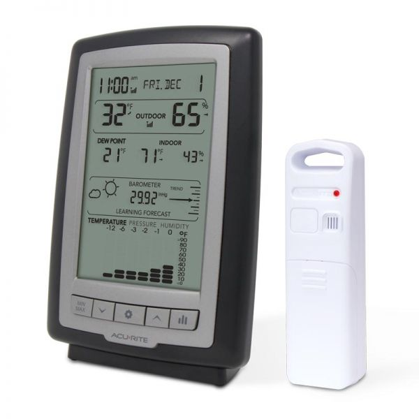 Angled view of the Weather Station with Trends and Forecasting - AcuRite Weather Monitoring Devices