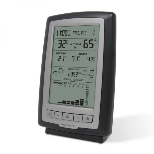 Angled view of the Weather Station with Trends and Forecasting Display - AcuRite Weather Monitoring Devices
