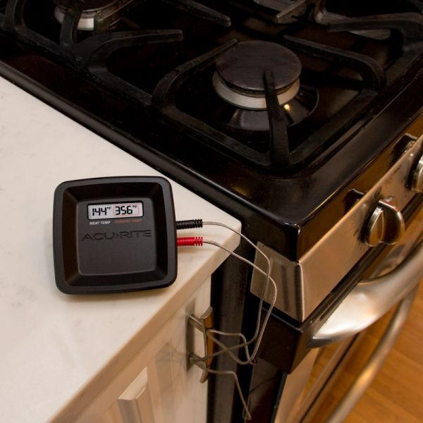 Digital Meat Thermometer being used in an oven - AcuRite Kitchen Gadgets