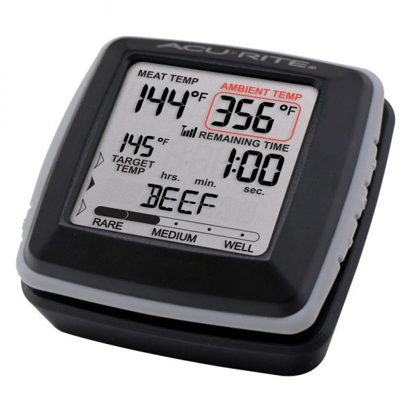 Angled view of the Digital Meat Thermometer with Wireless Display and Time Left to Cook - AcuRite Kitchen Gadgets