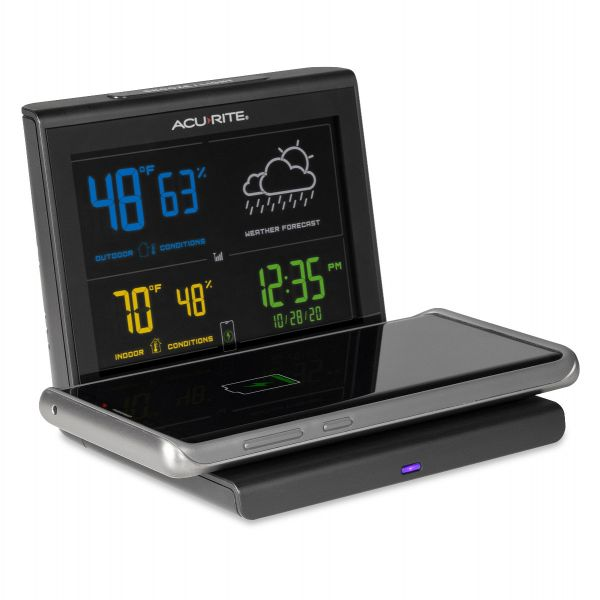weather forecaster with wireless charger side image with phone