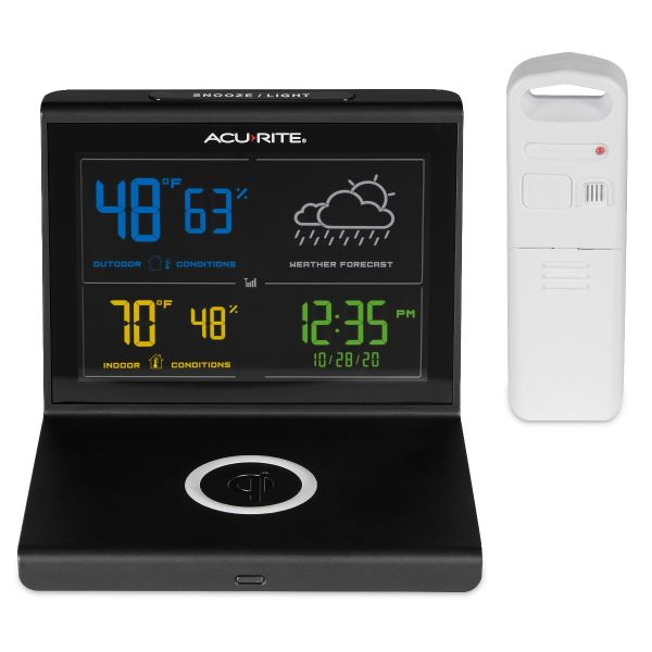 weather forecaster with wireless charger- straight on