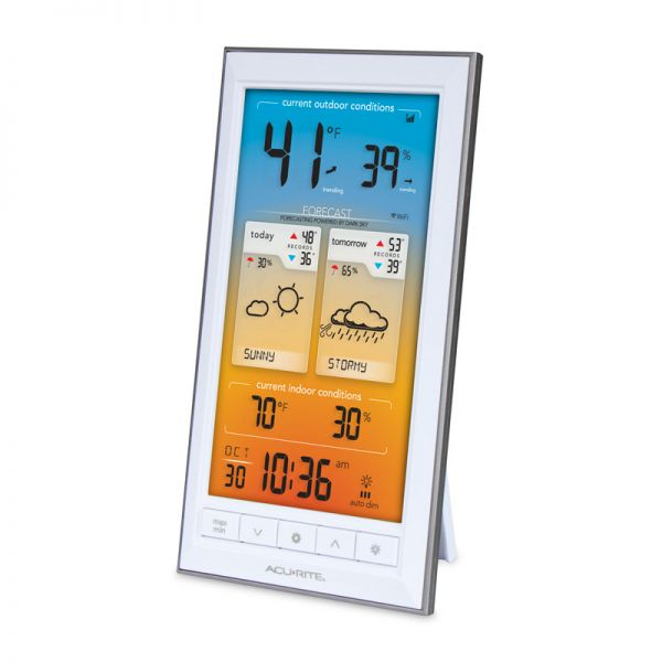 Angled View of Display for Wi-Fi Weather Station with Dark Sky Forecast – AcuRite Weather Devices