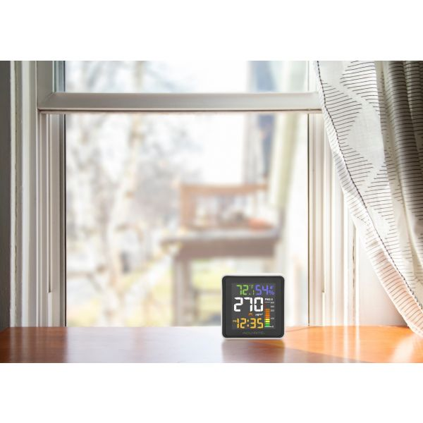 indoor air quality monitor lifestyle view with high PM2.5 levels