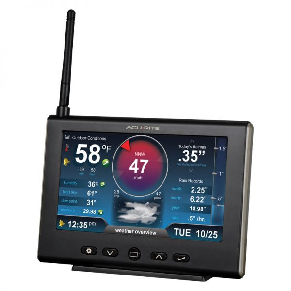 Angled View of Display for Pro+ 5-in-1 Weather Station with HD Display and Lightning Detector – AcuRite Weather Devices