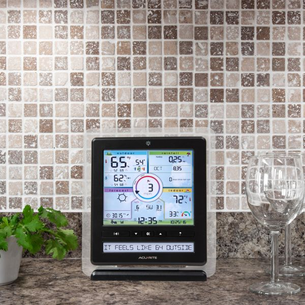 Color Weather Station display on a kitchen counter - AcuRite Weather Monitoring Devices