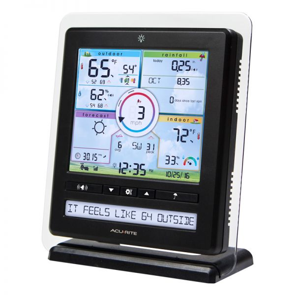 Angled View of Color Weather Station Display with PC Connect for 5-in-1 Weather Sensors – AcuRite Weather Devices