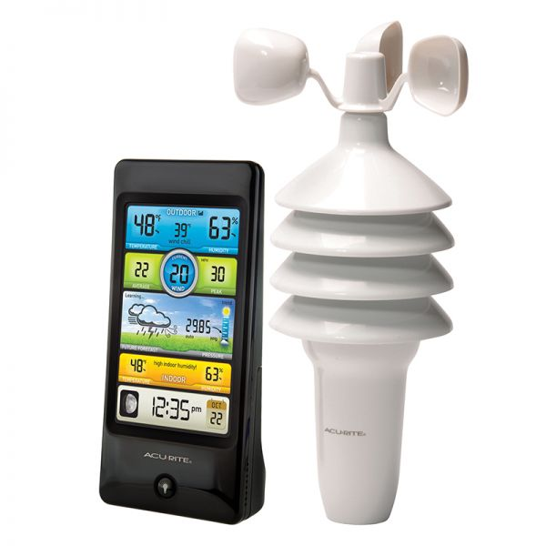 Angled view of the Pro Color Weather Station with Wind Speed - AcuRite Weather Monitoring Devices