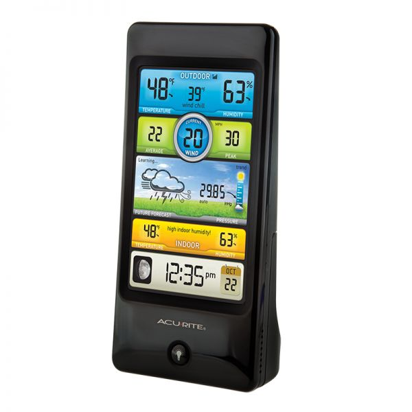 Angled view of the Pro Color Weather Station Display- AcuRite Weather Monitoring Devices